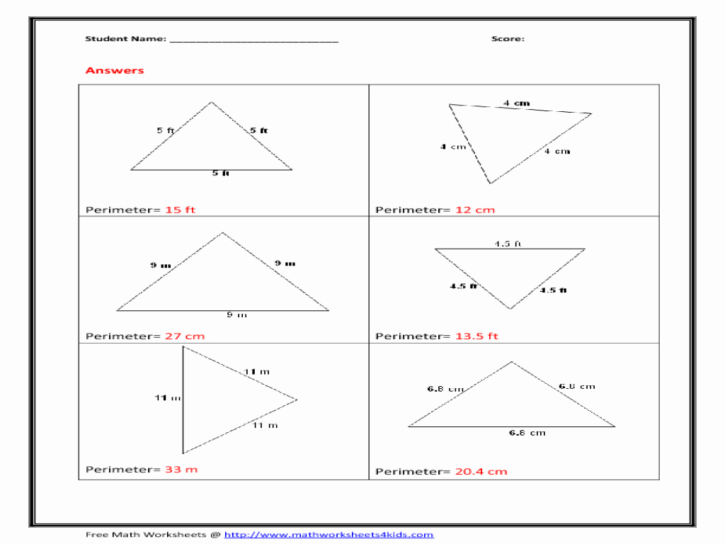 Area Of A Triangle Worksheet Fresh Worksheet area and Perimeter Triangles Worksheets