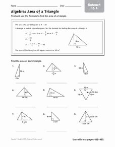 Area Of A Triangle Worksheet Inspirational Algebra area Of A Triangle Reteach 16 4 5th 6th Grade