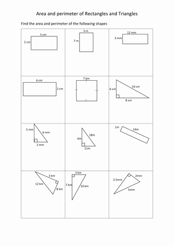 Area Of A Triangle Worksheet Lovely area and Perimeter Of Rectangles and Triangles Worksheets