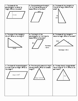 Area Of A Triangle Worksheet Lovely area Of Triangles and Parallelograms Challenge by andrea