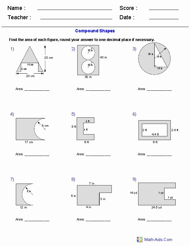 Area Of Composite Figures Worksheet Awesome area Posite Figures Worksheet