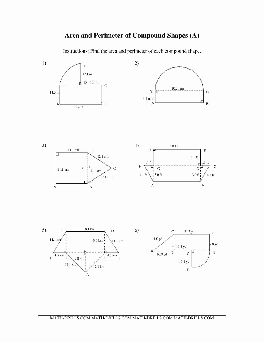 Area Of Composite Figures Worksheet Elegant area and Perimeter Of Pound Shapes A