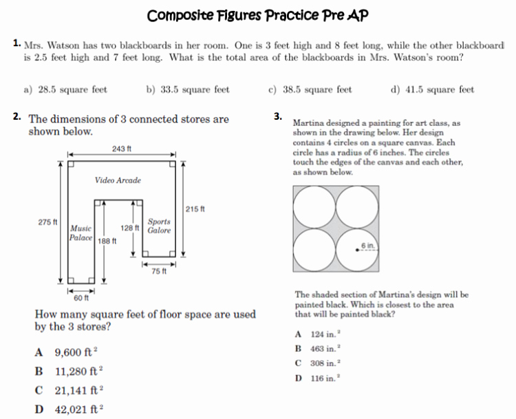 Area Of Composite Figures Worksheet Luxury Posite Figures 7th & 8th