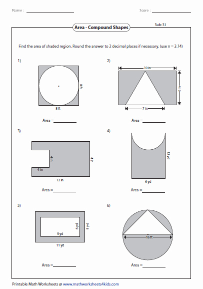 Area Of Composite Figures Worksheet New area Worksheets