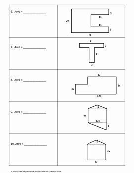 Area Of Composite Figures Worksheet New Geometry Worksheet area Of Posite Figures by My