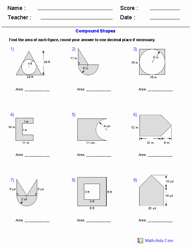 Area Of Composite Figures Worksheet Unique Geometry Worksheets