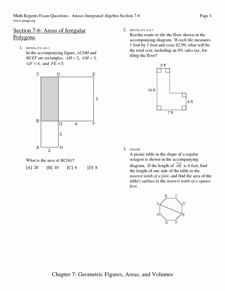 Area Of Irregular Shapes Worksheet Elegant area Of Polygons Worksheets Free