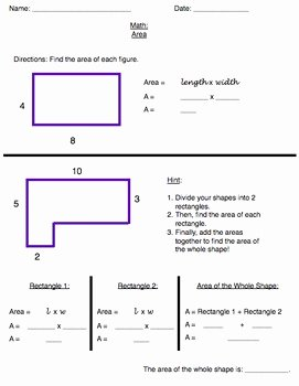 Area Of Irregular Shapes Worksheet Inspirational area Mon Core Worksheet Irregular Shapes Grade 3 5 by