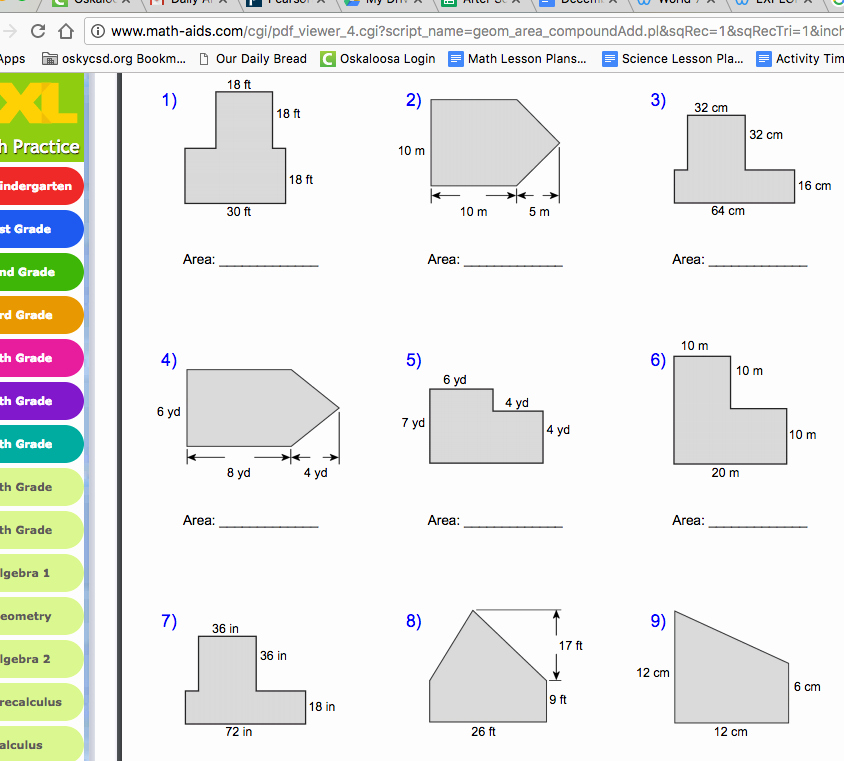 Area Of Irregular Shapes Worksheet Luxury World 7 Geometry Osky 6th Grade Math