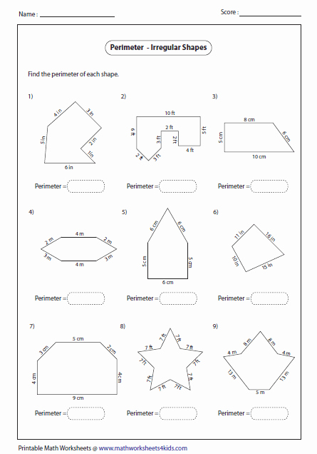 Area Of Irregular Shapes Worksheet New Perimeter Worksheets