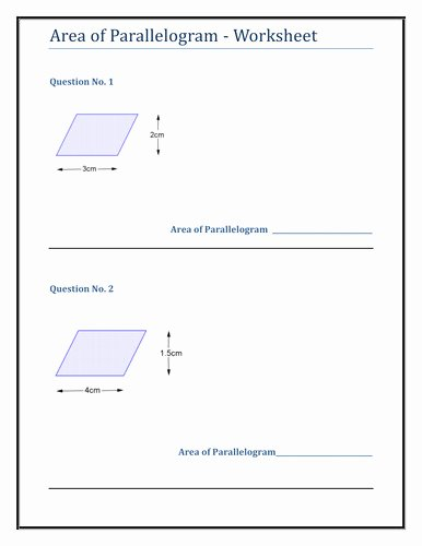 Area Of Parallelogram Worksheet Awesome area Parallelogram Worksheet