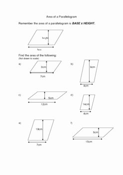 Area Of Parallelogram Worksheet Awesome Finding the area Of A Parallelogram by Susan Millan