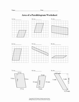 Area Of Parallelogram Worksheet Elegant area Of Parallelogram Worksheet by Family 2 Family