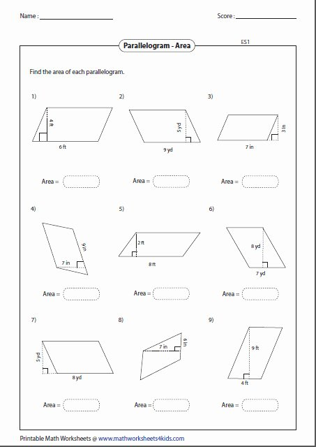 Area Of Parallelogram Worksheet Elegant area Parallelogram Worksheet