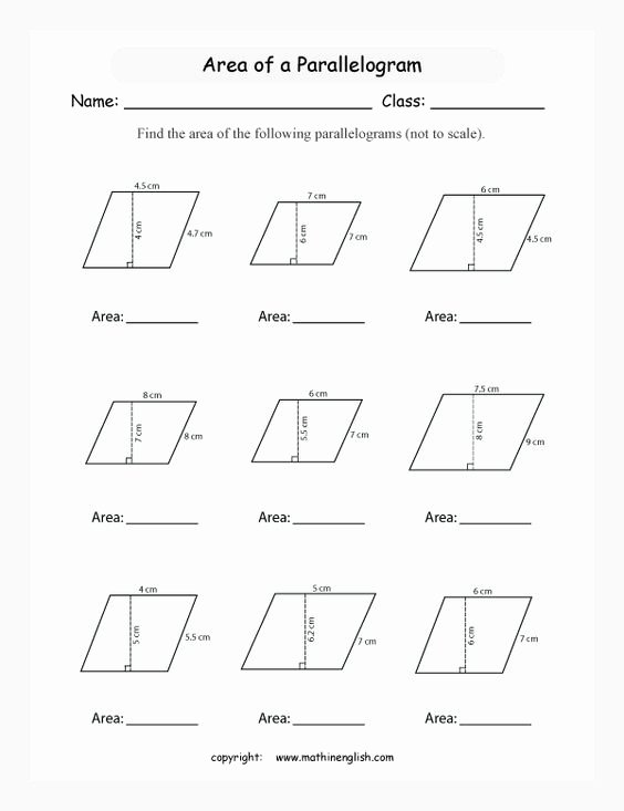 Area Of Parallelogram Worksheet Elegant Pinterest • the World's Catalog Of Ideas