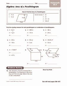 Area Of Parallelogram Worksheet Fresh Algebra area Of A Parallelogram Homework Worksheet for