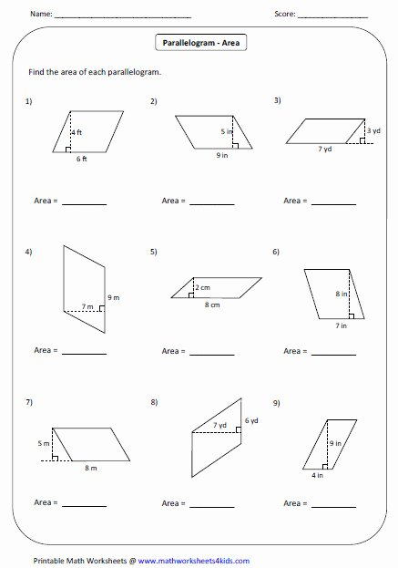 Area Of Parallelogram Worksheet Inspirational area Trapezoid Worksheet