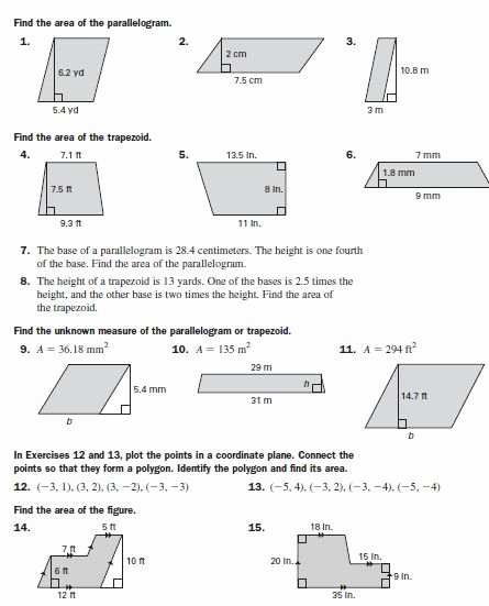Area Of Parallelogram Worksheet Luxury area Of Parallelograms & Trapezoids