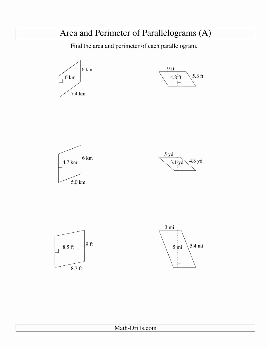 Area Of Parallelogram Worksheet New area and Perimeter Of Parallelograms whole Number Base