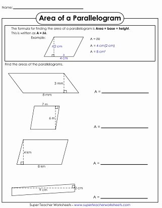 Area Of Parallelogram Worksheet New area Of Parallelograms & Trapezoids Worksheets