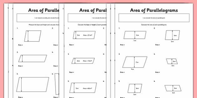Area Of Parallelogram Worksheet New area Of Parallelograms Worksheet Worksheet Pack