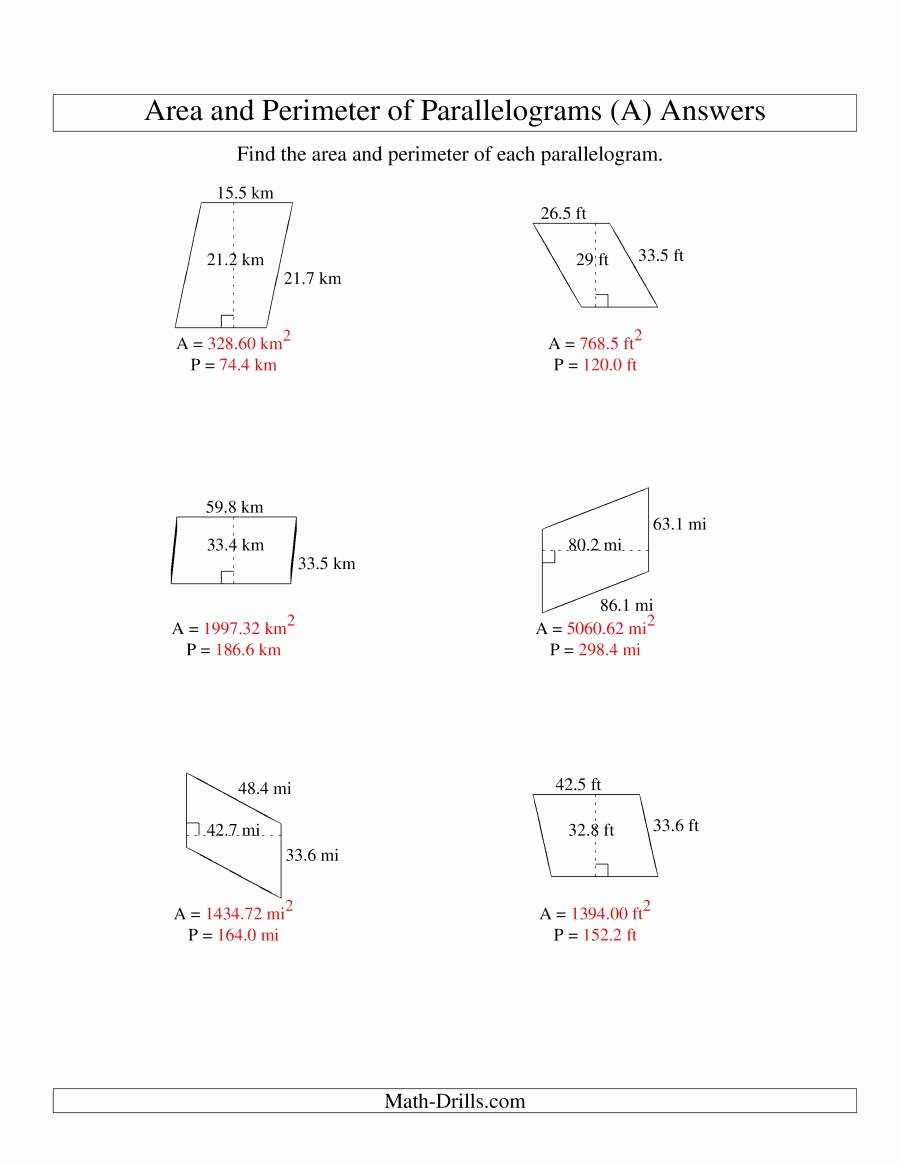 Area Of Parallelogram Worksheet New area Parallelogram and Trapezium Worksheet Tes