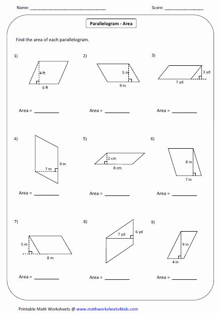 Area Of Parallelogram Worksheet Unique Quadrilateral Worksheets