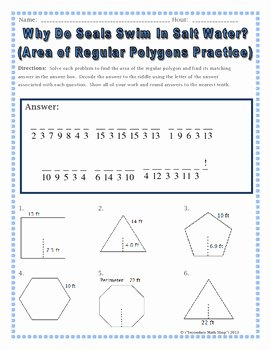 Area Of Regular Polygons Worksheet Awesome area Geometry area Of Regular Polygons Riddle Worksheet
