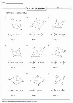 Area Of Rhombus Worksheet Awesome 8 Best Rhombus Worksheets Images In 2019