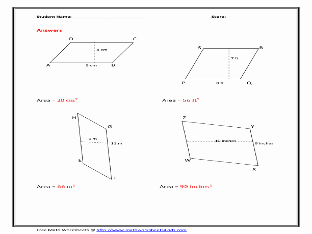Area Of Rhombus Worksheet Awesome area Of Parallelogram Worksheet Figure Version Worksheet