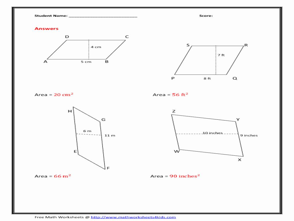 Area Of Rhombus Worksheet Awesome area Of Parallelogram Worksheet Figure Version Worksheet