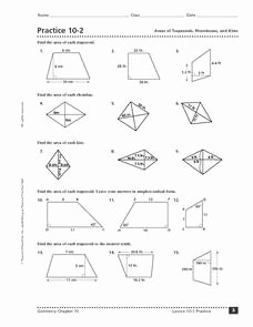 Area Of Rhombus Worksheet Awesome Practice 10 2 areas Of Trapezoids Rhombuses and Kites