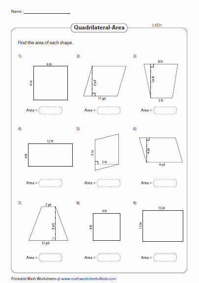 Area Of Rhombus Worksheet Awesome Quadrilateral Worksheets