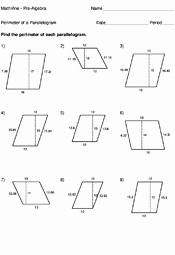 Area Of Rhombus Worksheet Beautiful Perimeter A Parallelogram Worksheets Mathvine