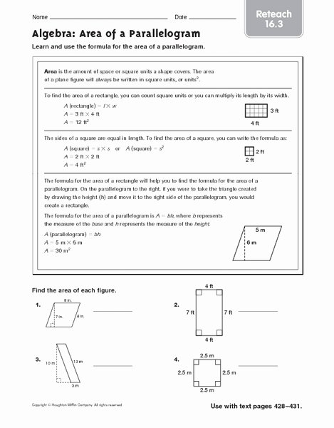 Area Of Rhombus Worksheet Best Of area Of A Parallelogram Reteach 16 3 Worksheet for 4th