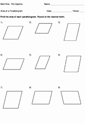 Area Of Rhombus Worksheet Elegant area A Parallelogram Worksheets Mathvine