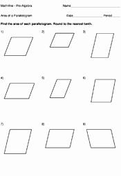 Area Of Rhombus Worksheet Elegant area A Parallelogram Worksheets Mathvine