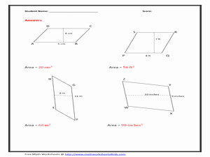 Area Of Rhombus Worksheet Fresh area Of Parallelogram Worksheet Figure Version 6th 8th