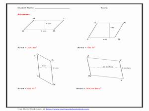 Area Of Rhombus Worksheet Fresh area Of Parallelogram Worksheet Figure Version 6th 8th