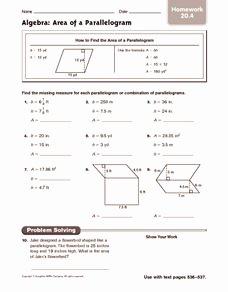Area Of Rhombus Worksheet Inspirational Algebra area Of A Parallelogram Homework 6th 7th Grade