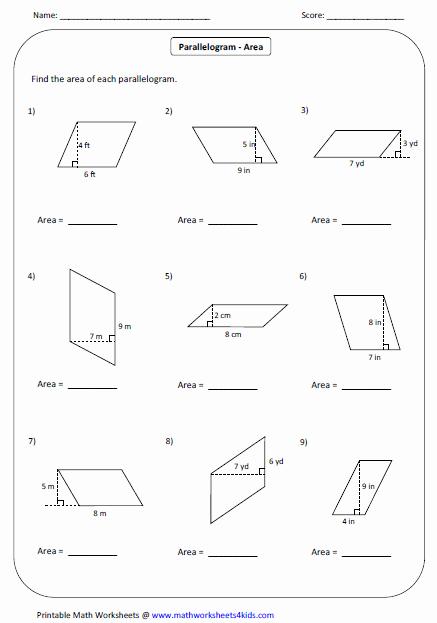 Area Of Rhombus Worksheet Inspirational Quadrilateral Worksheets