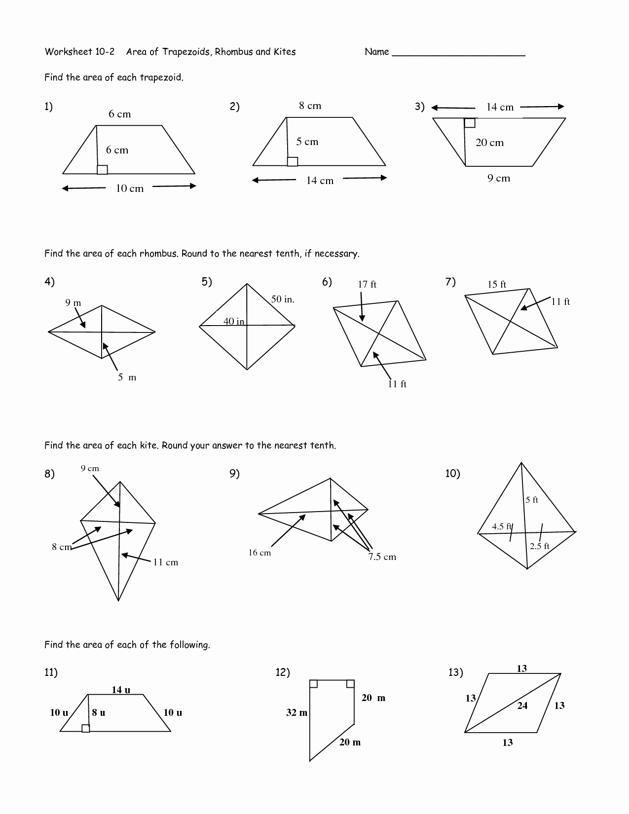 Area Of Rhombus Worksheet New 12 Best Of Trap and Kites Worksheet Geometry