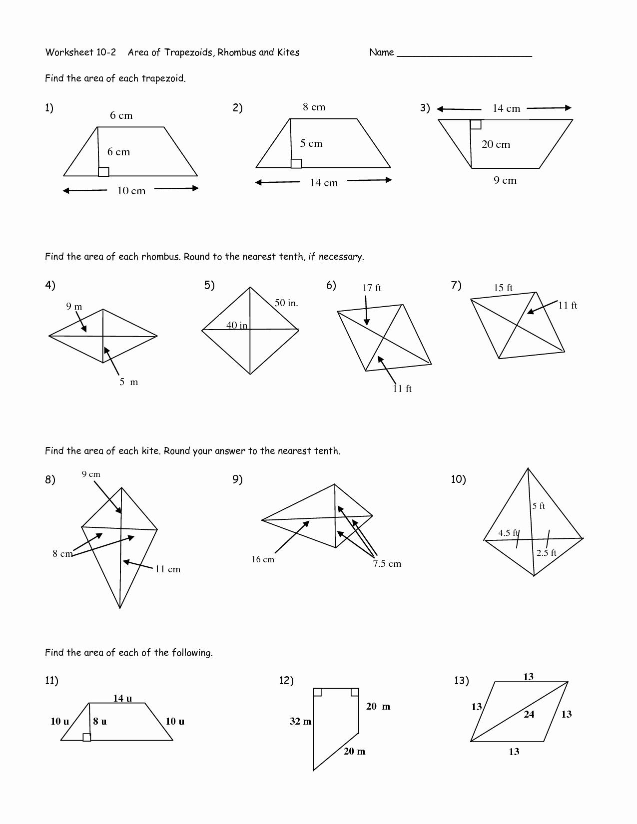 Area Of Rhombus Worksheet New 12 Best Of Trap and Kites Worksheet Geometry