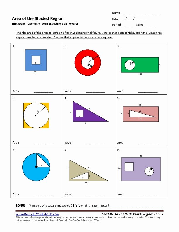 Area Of Shaded Region Worksheet Inspirational area Shaded Region Worksheets