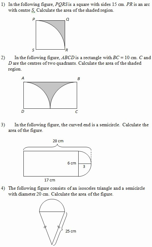 Area Of Shaded Region Worksheet New area Of Figures that Include Circles Worksheets and