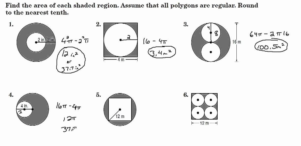 Area Of Shaded Region Worksheet New Finding areas Of Shaded Regions Between Polygons & Circles