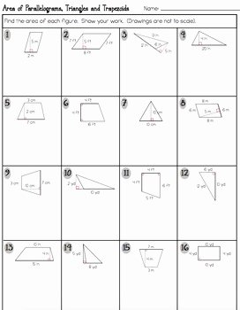 Area Of Trapezoid Worksheet Awesome area Of Parallelograms Triangles and Trapezoids