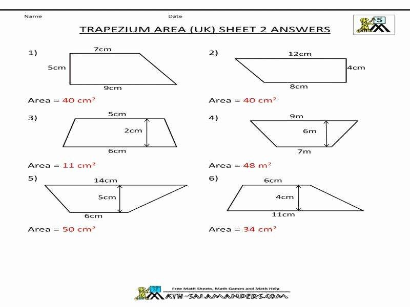 Area Of Trapezoid Worksheet Beautiful area Trapezoid Worksheet