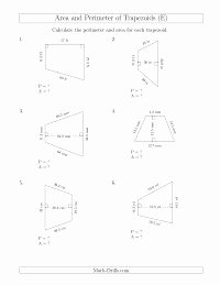 Area Of Trapezoid Worksheet Beautiful Calculating the Perimeter and area Of Trapezoids even