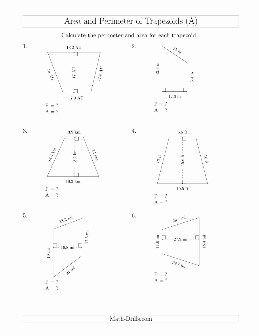 Area Of Trapezoid Worksheet Beautiful Calculating the Perimeter and area Of Trapezoids R